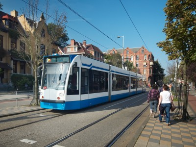 A tram in amsterdam near the rijksmuseum