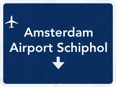 Schiphol Amsterdam Netherlands Airport Highway Sign 2D Illustration